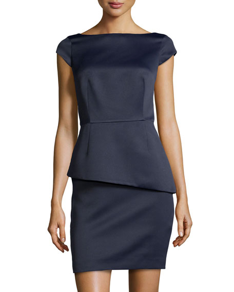 Satin Cap-Sleeve Peplum Dress, Navy
