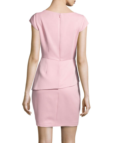 Satin Cap-Sleeve Peplum Dress, Cameo