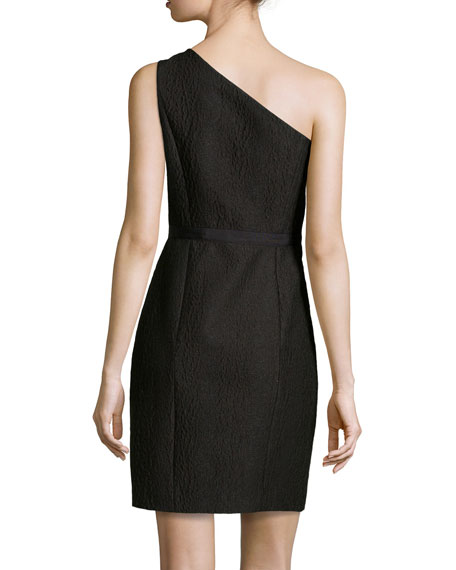 One-Shoulder Jacquard Dress, Black