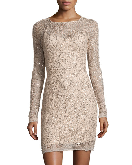 Sequin Lace Sheath Dress, Gold