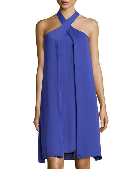Asymmetric Drape Dress: Halston Heritage Asymmetric-Drape Halter Dress, Wisteria