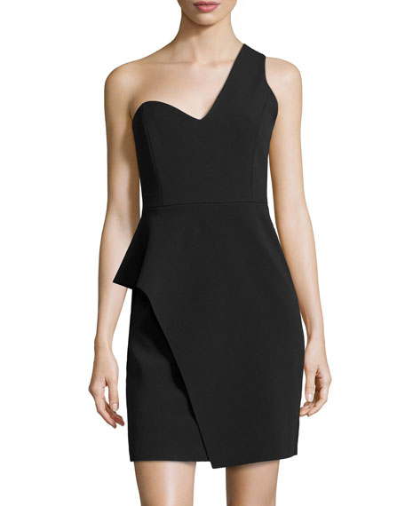 One-Shoulder Asymmetric Peplum Dress, Black