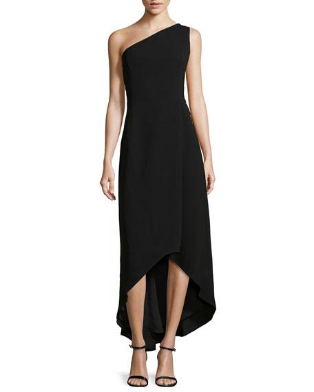Floral-Detail One-Shoulder High-Low Dress, Black