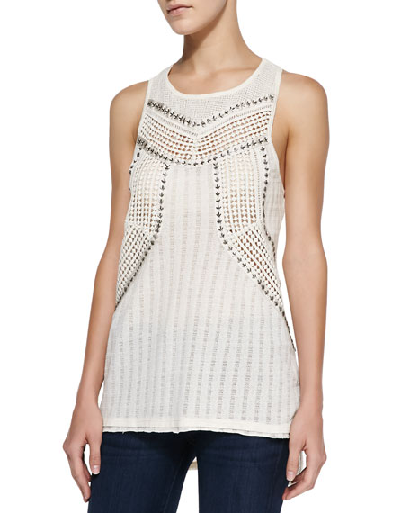Trinity Beaded Crochet-Knit Cutout Tank Top, Cream