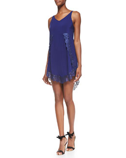 Free People Eyelashes Lace-Trimmed Slip Dress, Dark Blue