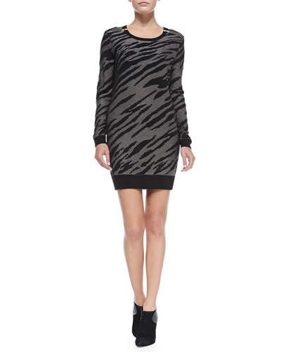 French Connection Siberian Tiger-Print Knit Dress, Black/Sweet Almond