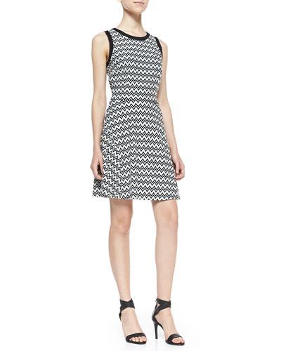 Trina by Trina Turk Sheila Zigzag Ponte Fit-And-Flare Dress, Black/White