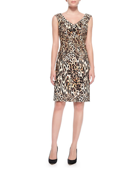 V-Neck Leopard-Print Sheath Dress