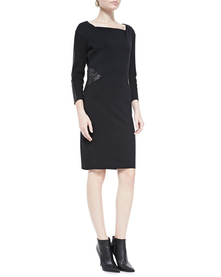 Drape-Neck Sweater Sheath Dress w/ Contrast Panels
