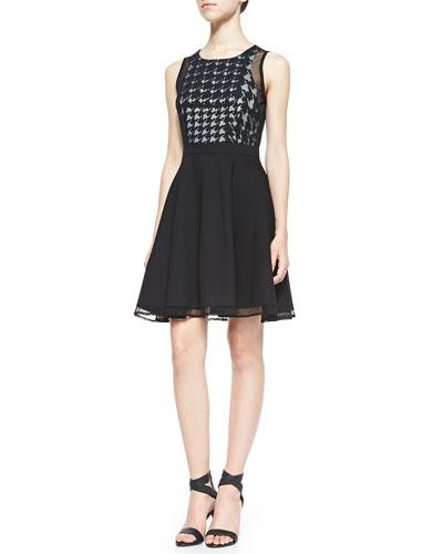 Trina by Trina Turk Nancy Houndstooth Check Combo Dress, Black/White