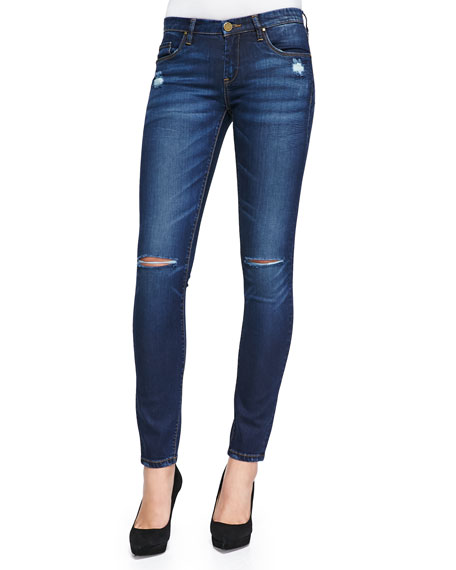 Distressed Denim Skinny Jeans, Blue