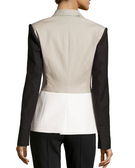 Linen-Blend/Faux-Leather Colorblock Jacket, Flint/White/Black