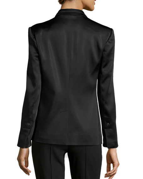 Slim-Lapel Satin Jacket, Black