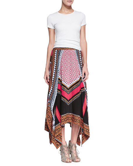 Mixed-Print Charmeuse Handkerchief Skirt