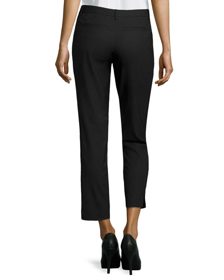 Skinny Tailored Gabardine Pants, Black