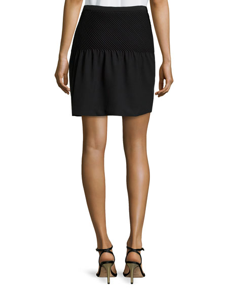Pintuck Detail Tulip Skirt, Black