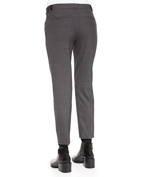 Pintuck Leather-Tab Pants