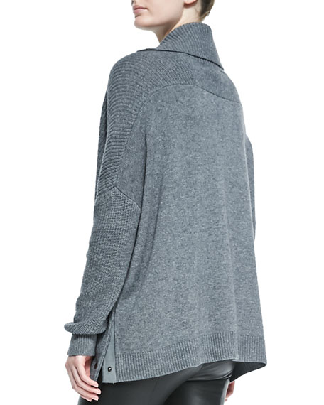 Oversize Snap-Turtleneck Sweater, Med Heather Gray