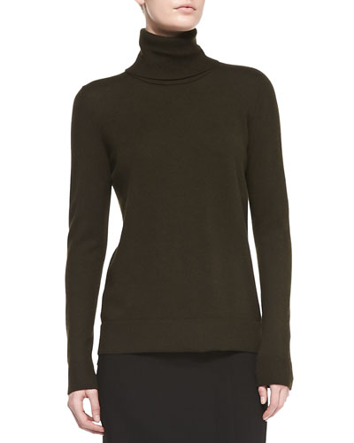 Vince Cashmere-Overlay Turtleneck Sweater, Foliage