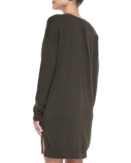 Dropped-Sleeve V-Neck Tunic Sweater, Foliage