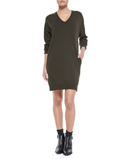 Vince Dropped-Sleeve V-Neck Tunic Sweater, Foliage