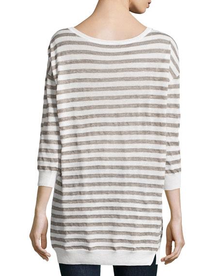 Striped Linen-Blend Sweater, Linen White/Fatigue