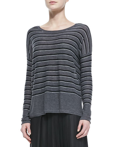 Vince Striped Bateau-Neck Sweater, Thunder Combo