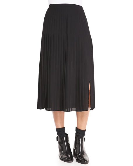 Mid-Calf Pleated Chiffon Skirt