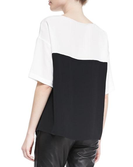Silk Colorblock Short-Sleeve Blouse