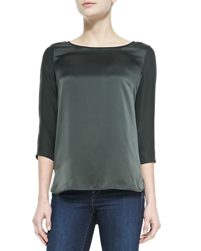 Vince Silk Button 3/4-Sleeve Blouse, Foliage