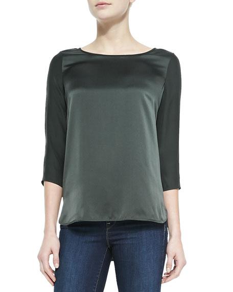 Silk Button 3/4-Sleeve Blouse, Foliage
