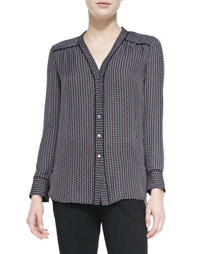 Vince Piped-Trim Printed Silk Blouse