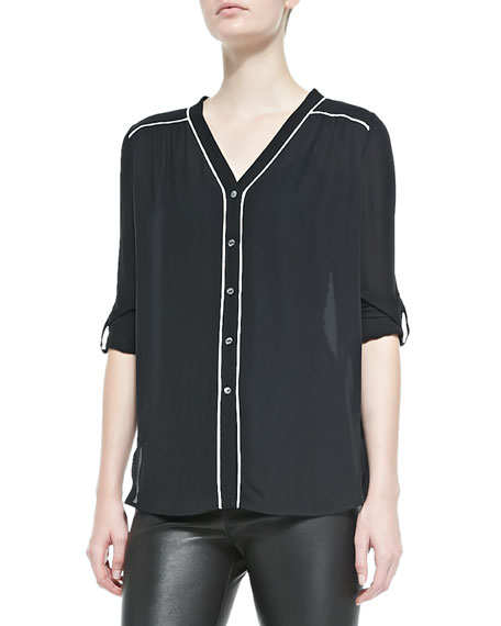 Silk Contrast-Piping Blouse, Black-Off White