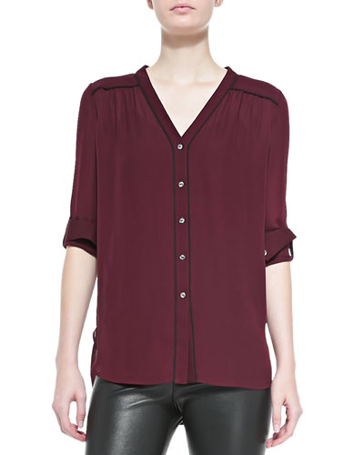 Vince Silk Contrast-Piping Blouse, Shiraz-Black