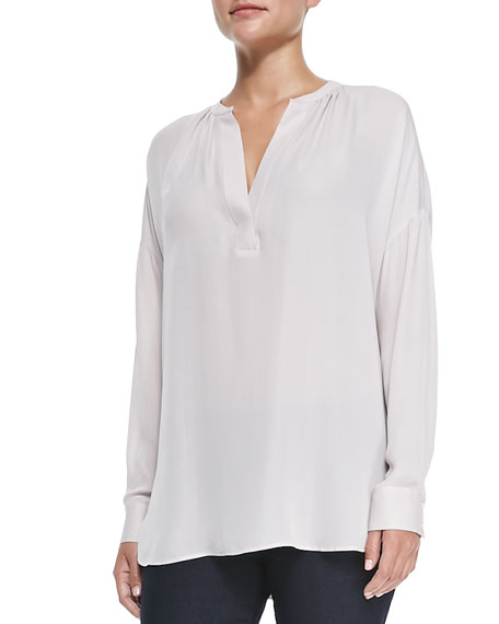 Vince Silk Popover Long-Sleeve Blouse, Cameo