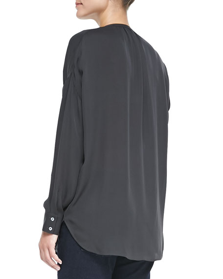 Silk Long-Sleeve Popover Blouse, Pewter