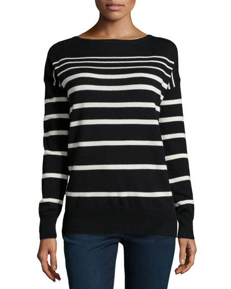 Striped Knit Bateau Sweater, Black/Chalk