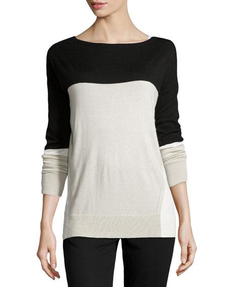 Colorblock Boat-Neck Sweater, Flint/Black/White