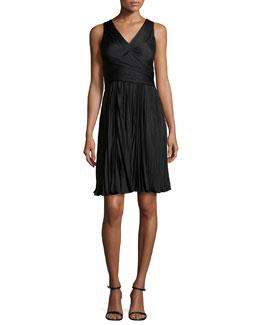 Plisse Wrap-Top Dress, Black