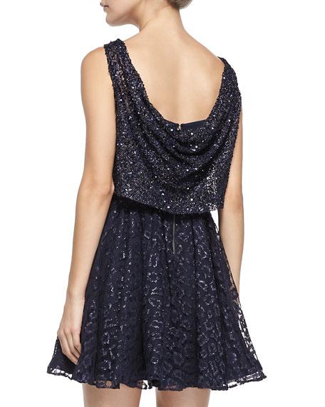 Hilta Beaded Blouson Mesh Dress