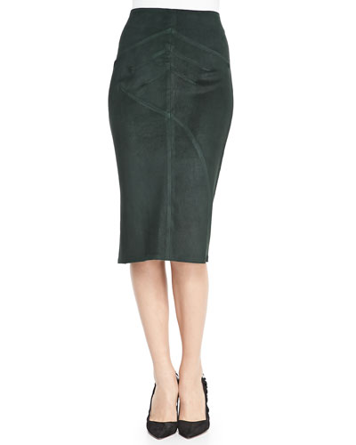 10 Crosby Derek Lam Seamed Suede Pencil Skirt