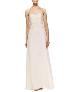 Amsale Strapless Draped-Bodice Gown