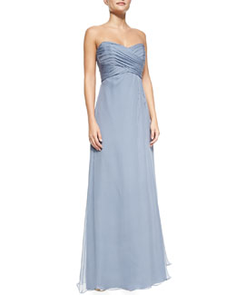 Strapless Pleated-Bodice Gown, Slate