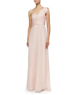 Amsale One-Shoulder Ruffle Detail Gown, Blush
