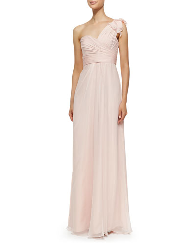 Amsale One-Shoulder Ruffle Detail Gown, Blush