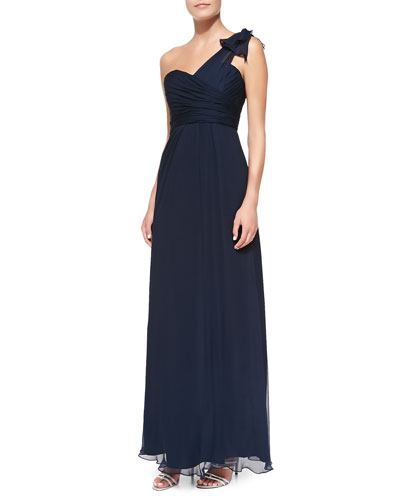 Amsale One-Shoulder Ruffle Detail Gown, Navy