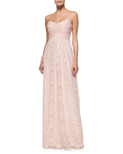 Amsale Strapless Ruched-Bodice Lace Gown
