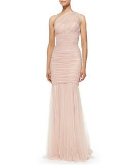 Amsale One-Shoulder Draped Mermaid Gown, Blush