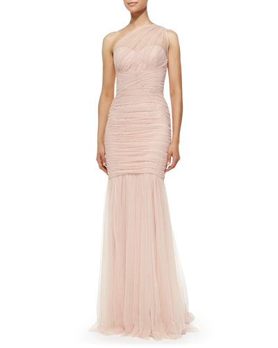 Amsale One-Shoulder Draped Mermaid Gown, Blush