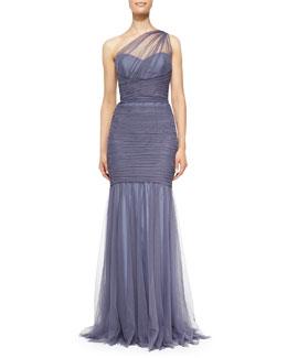 Amsale One-Shoulder Draped Mermaid Gown, Periwinkle